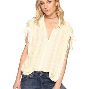 Free People Baby Blue Button Down Top